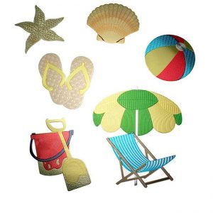 Beach Set Metal Sticker Decal