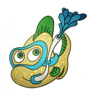 Gilly Tropical Fish Metal Sticker Decal