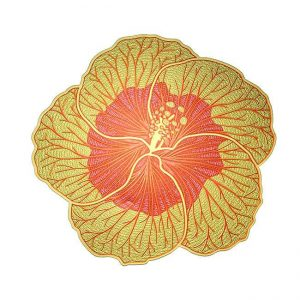 Hibiscus Metal Sticker Decal
