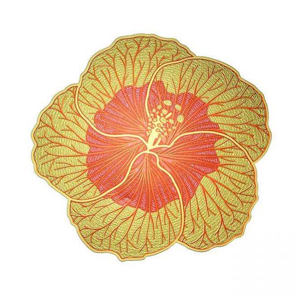 Hibiscus Metal Sticker Decal