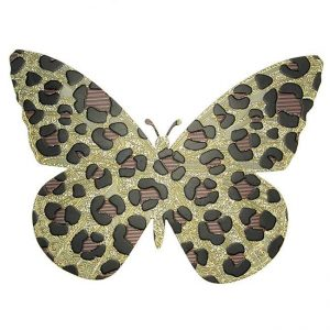 Jenny Butterfly Cheetah Print Metal Sticker Decal