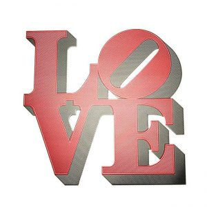 Love Philadelphia Statue Metal Sticker Decal