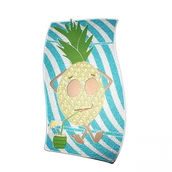 Pina Pineapple Metal Decal Sticker JAT Creative Products on Notebook