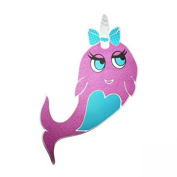 Pinky Narwhal Metal Sticker Decal