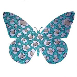 Poppy Butterfly Cheetah Print Metal Sticker Decal