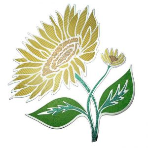 Sunflower Metal Sticker Decal